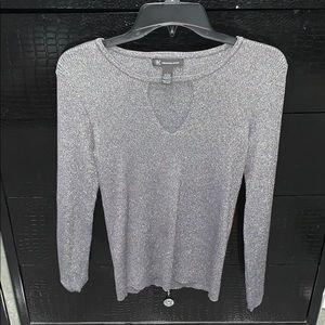 INC Metalic Keyhole Sweater Blouse